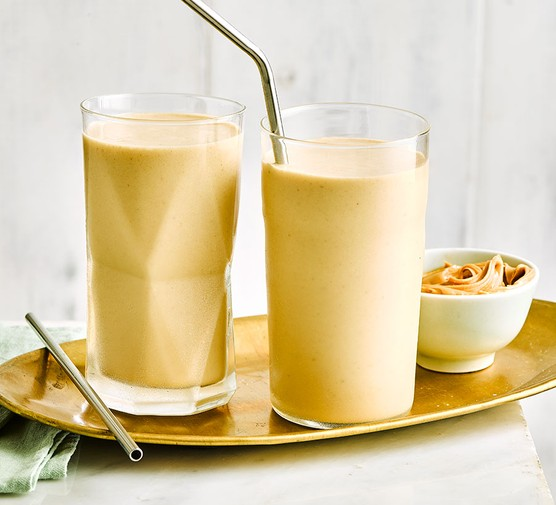 Peanut butter smoothie in glasses
