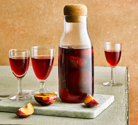 Plum brandy in glasses and a bottle