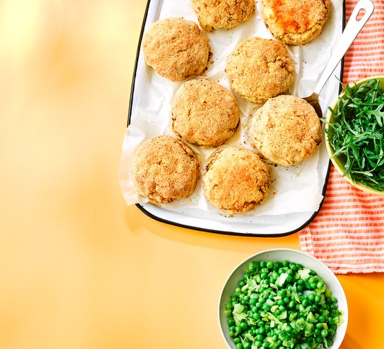 Salsa verde fishcakes with salad on the side