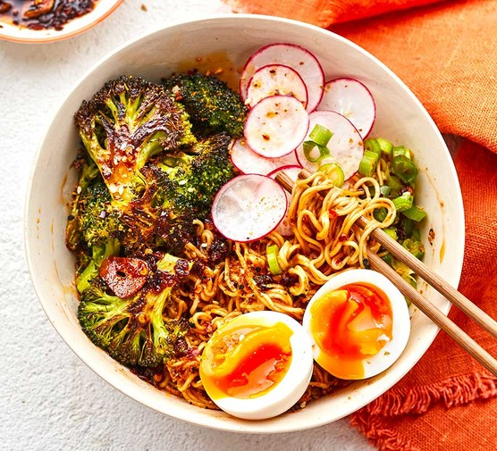 Roast broccoli & sesame ramen noodle bowls with chopsticks