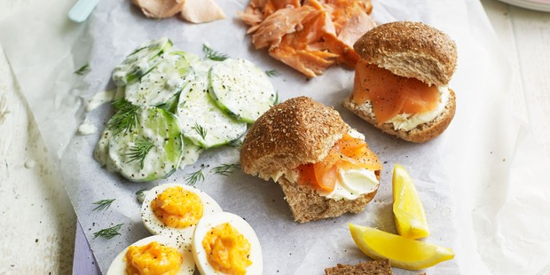 Selection of cold meats, veg, smoked salmon and breads