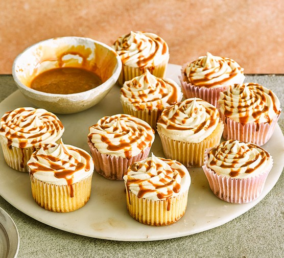 Salted caramel cupcakes on a plate