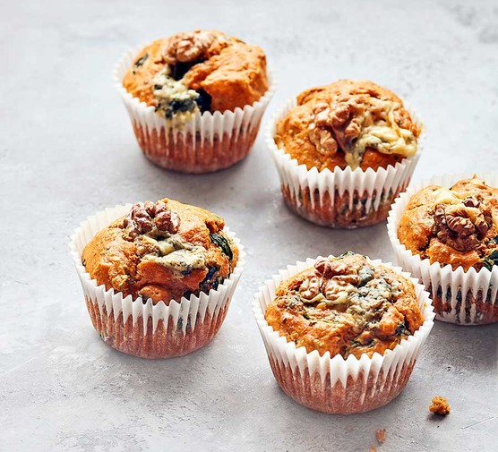 A selection of spinach, blue cheese & walnut muffins