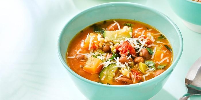 Summer bean and bulgur soup in a bowl