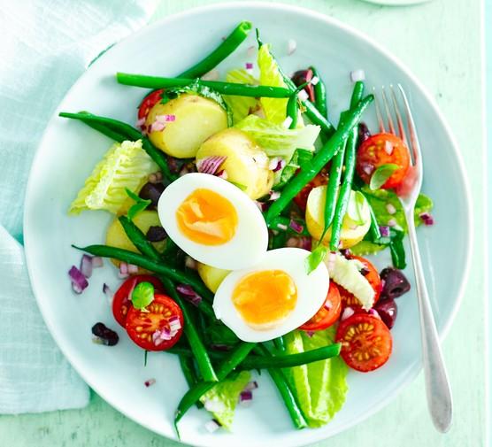Eggs nicoise salad on a plate