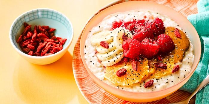 A bowl of fruit-topped porridge