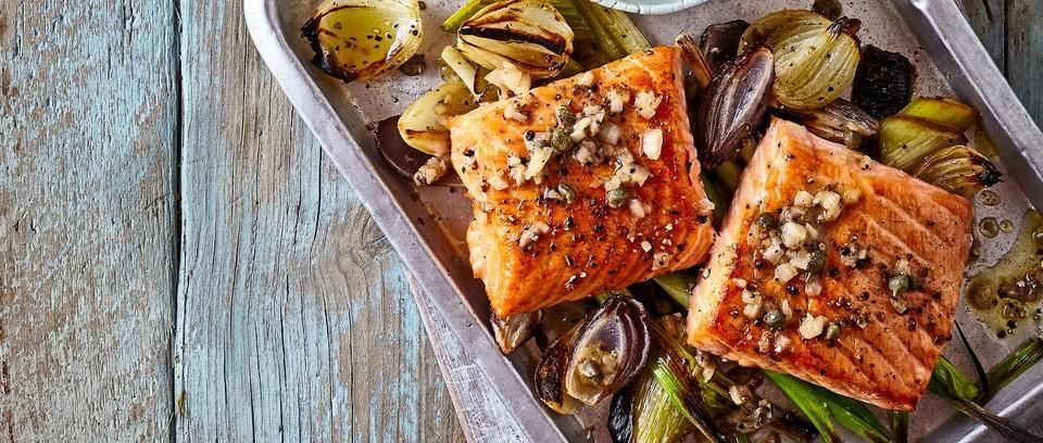 One-pan salmon on tray