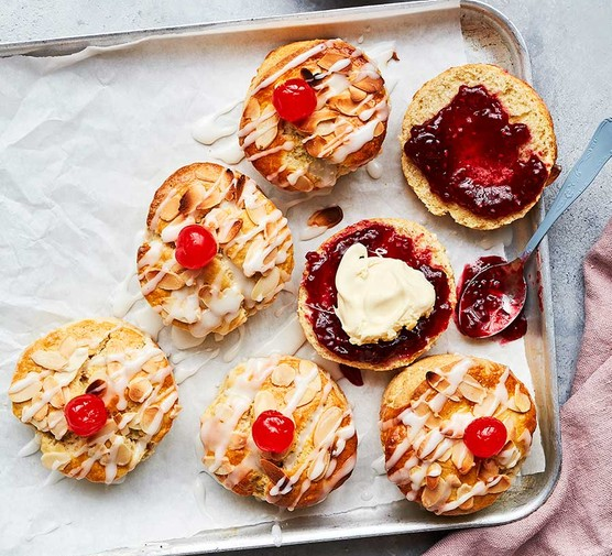 Bakewell tart scones on a baking tray