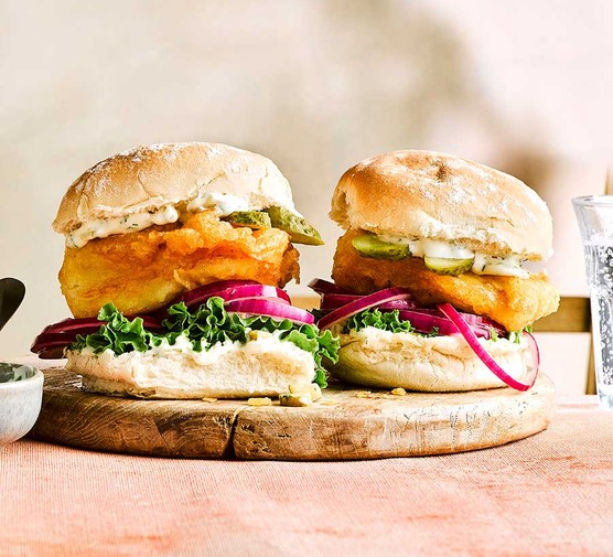 Two beer-battered fish burgers
