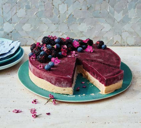 Berry Nice Cream Cake served on a plate