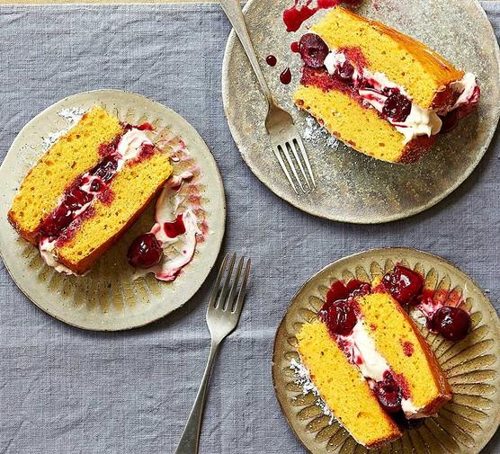 Three servings of cherry, custard & almond sponge cake