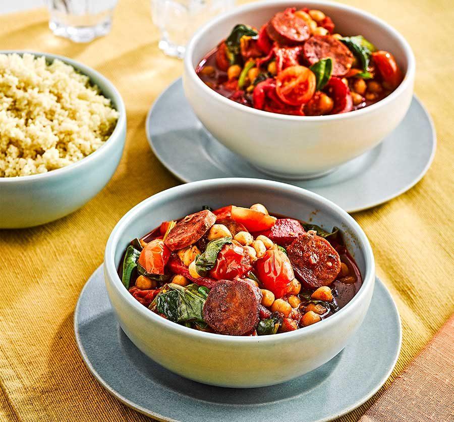 Chorizo & chickpea summer stew