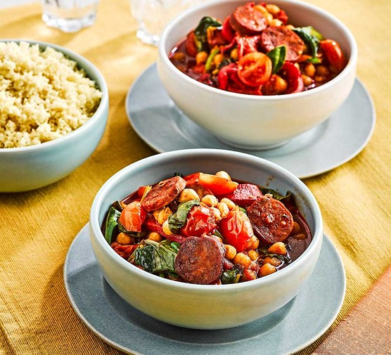 Chorizo & chickpea summer stew in two bowls