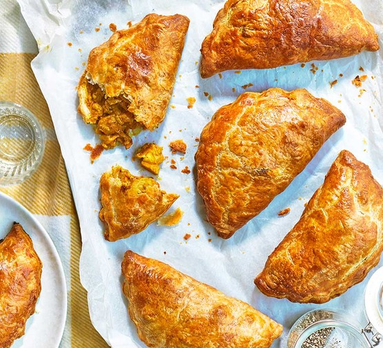 A selection of Coronation chicken pasties