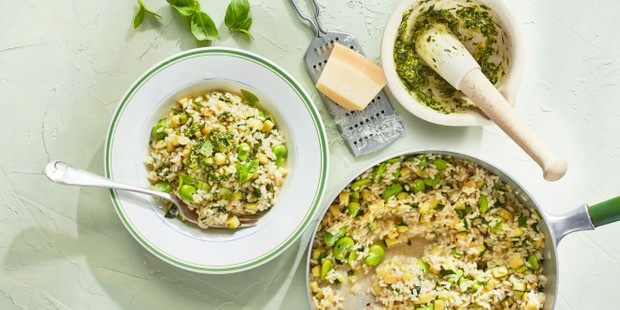 Courgette-broad-bean-risotto
