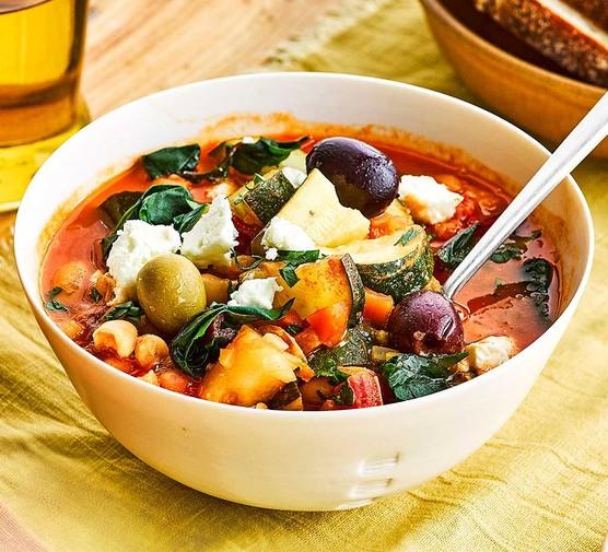 Fridge-raid soup in a bowl
