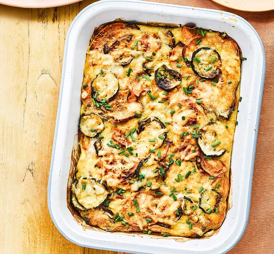 Oven-roasted sweet potato & courgette tortilla