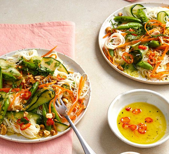 Two servings of veggie vermicelli and chilli dressing