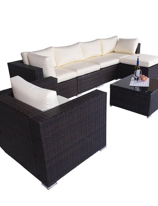 The Astbury 6 Seat Corner Rattan Sofa Set with Chair