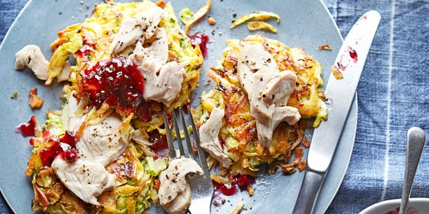 Bubble and squeak cakes with turkey and cranberry sauce