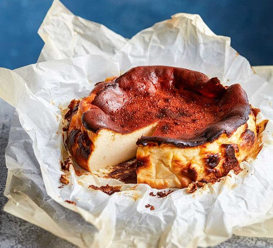 Burnt Basque cheesecake in baking parchment