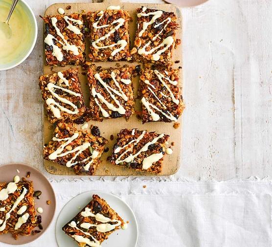 Carrot cake fridge flapjacks cut into squares