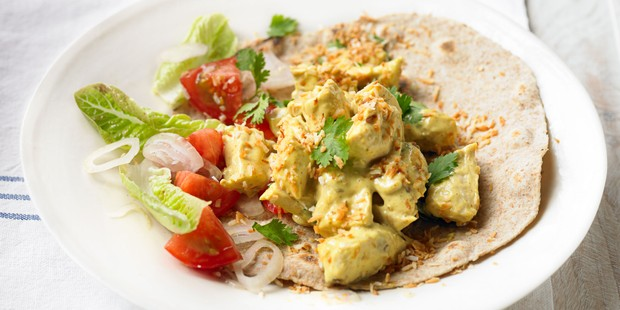 Chapatis with Coronation turkey, tomatoes and lettuce