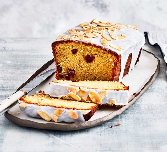 Cherry loaf cake cut into slices