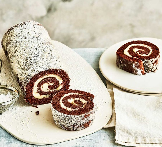 Chocolate Swiss roll cut into slices