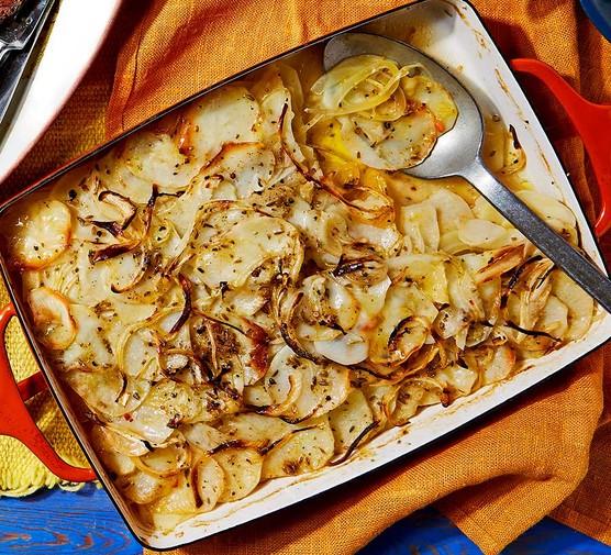 Fennel & lemon boulangère potatoes in a baking dish