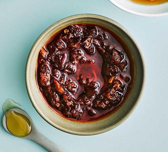Harissa-honey marinade in a small bowl