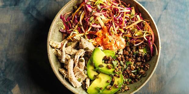 Bowl of turkey, avocado, grains and veg