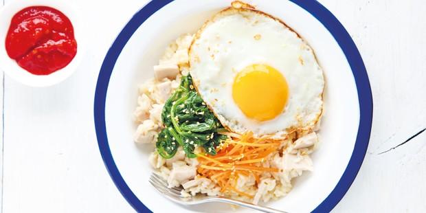 Korean rice bowl with fried egg