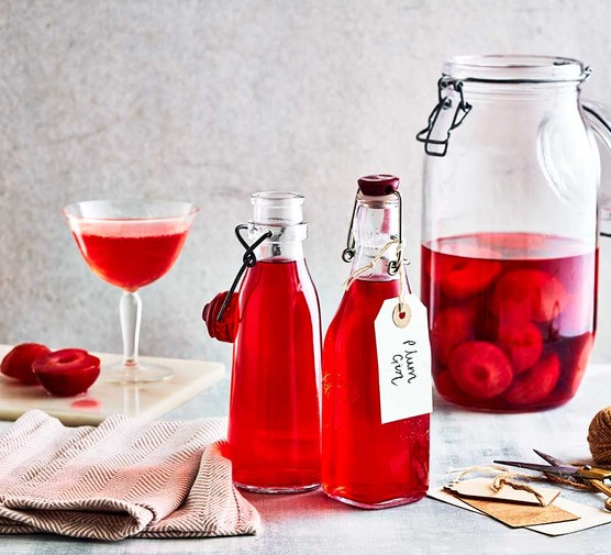 Plum gin in bottles and a jar