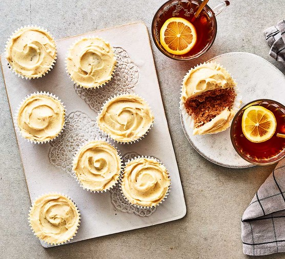 A collection of pumpkin spice cupcakes