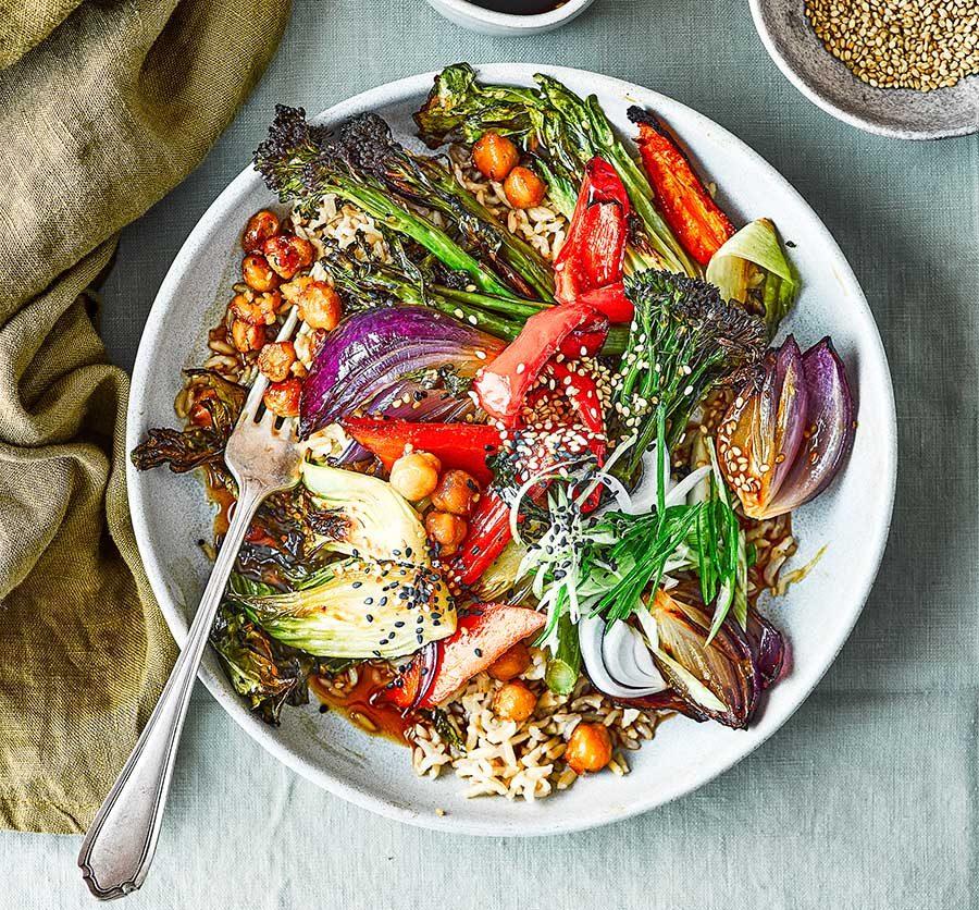 Roasted teriyaki veg bowl