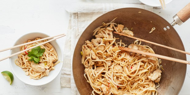 Turkey noodles in a large wok