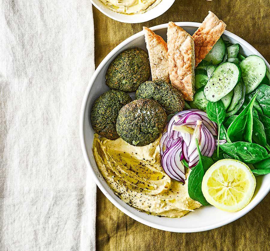 Spinach falafel & hummus bowl