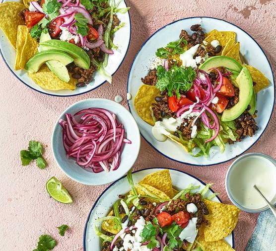 Taco salad served in individual bowls