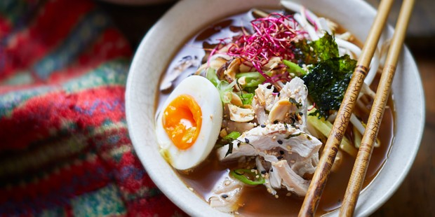 Bowl of turkey, noodle and egg ramen