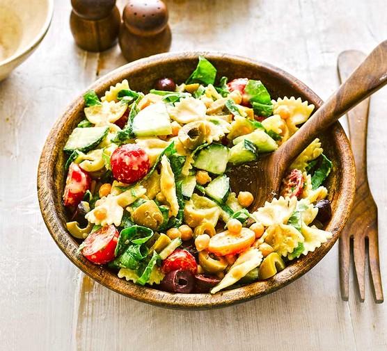 Veggie hummus pasta salad in a bowl