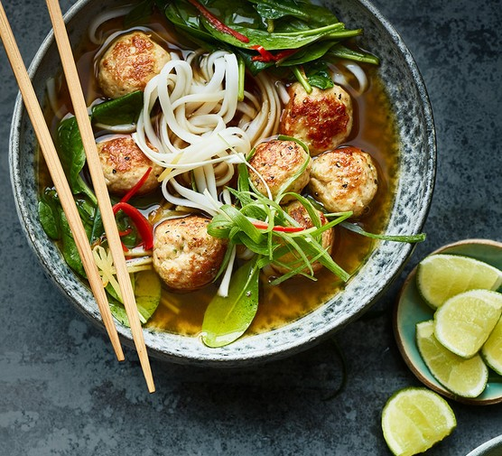 Miso chicken meatballs in broth with rice noodles