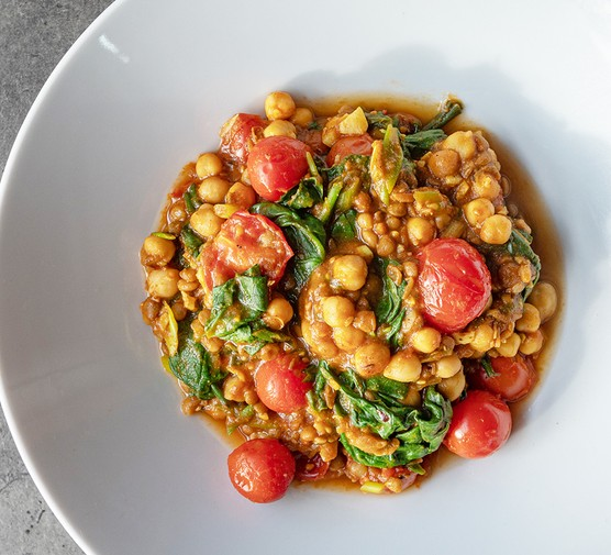 Quick easy chickpea and coconut dhal served in a bowl