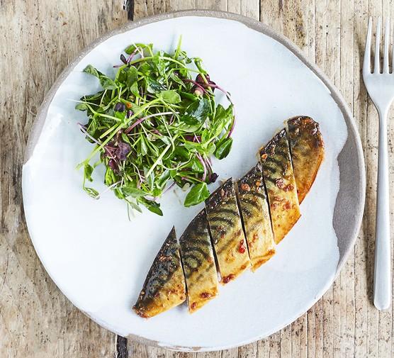 Grilled mackerel fillets served on a plate