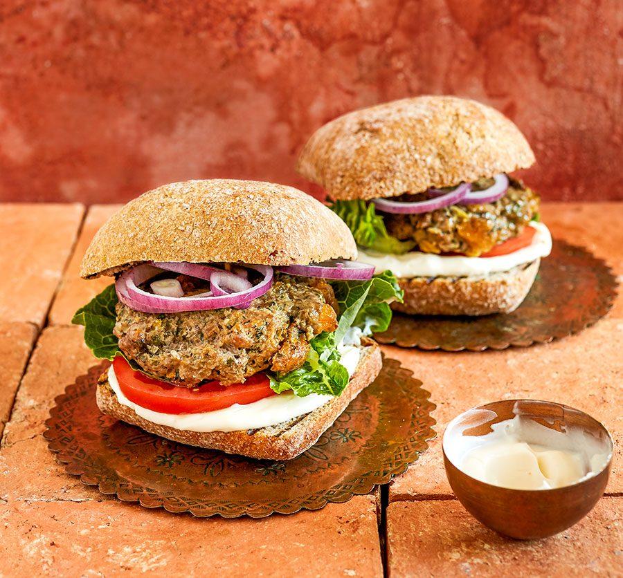 Moroccan-style lamb burgers