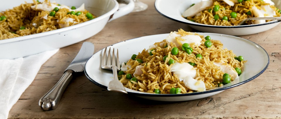 Kedgeree in bowls on table