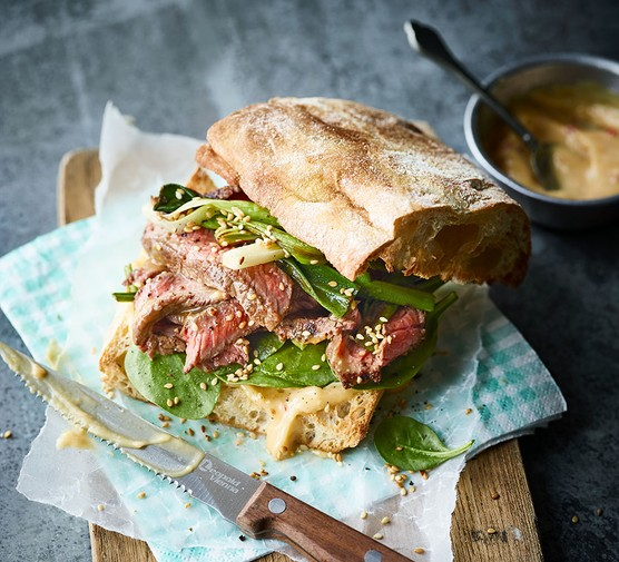 One steak & spring onion sandwich with miso mayo