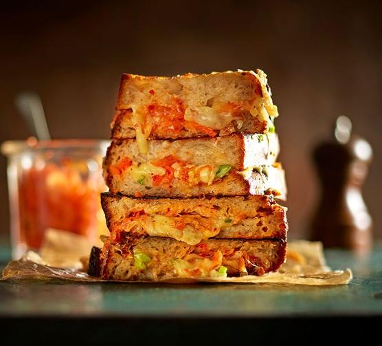 Three kimchi double-cheese toasties