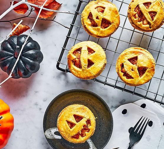 Mini pumpkin & feta pies on a wire rack
