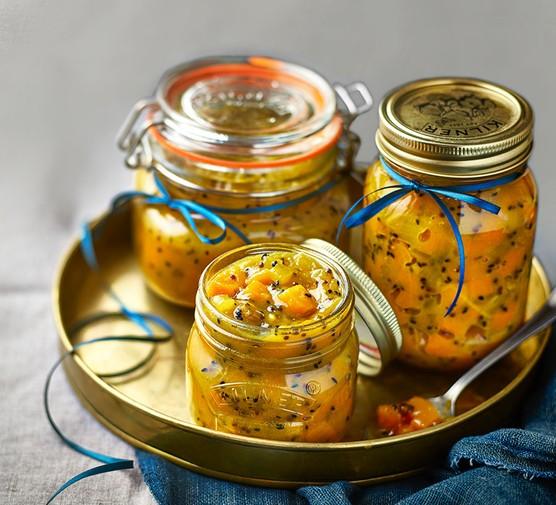Pumpkin pickle in three jars